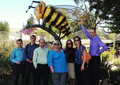 Members of a U.S. Open World delegation from Chyhyryn, Ukraine enjoy the sculptures that ornament downtown Sebastopol